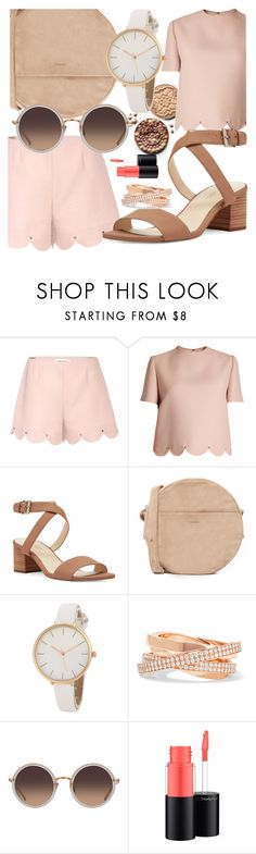 """""""PICNIC"""" by anne-belen-co ❤ liked on Polyvore featuring Valentino, Nine West, BAGGU, Repossi, Linda Farrow, Pink, shorts, pastel and Bronze"""