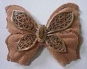 burlap & butterfly brooch