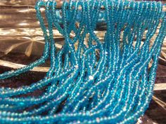 Size 13/0 Charlotte/True Cut Transparent AQUA BLUE Iris-AB-Rainbow Preciosa Czech Glass Seed Beads-1.7mm Rocailles-Short Hank/Strands/String by BodaciousRockz on Etsy