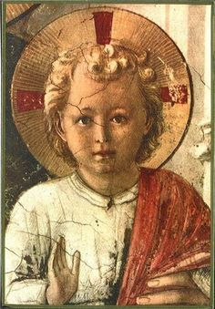 """Fra Angelico--detail from """"The Christ Child from the Madonna della Ombre"""" Fra Angelico, Image Jesus, Spiritual Meditation, Triquetra, Edgar Degas, Gothic Art, Lord And Savior, Worship, Little Girls"""