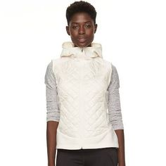 Women's Columbia Warmer Days Fleece Hooded Vest, Size: Large, White