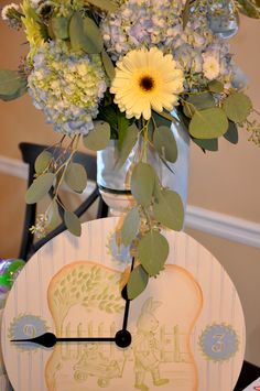 hydrangeas w/ Gerber Daisy Gerber Daisies, Centerpieces, Table Decorations, New Baby Boys, Hydrangeas, Baby Boy Shower, Party Planning, Party Time, Favorite Quotes