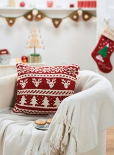 Scandi Christmas Cushion - free pattern by Lucinda Ganderton @ Lets Knit (need to log in)                                                                                                                                                                                 More