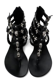 Skull Stud Multi-strap Flat Sandals by june