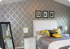 Master Bedroom?? Love the accent wall and the yellow pop of color!