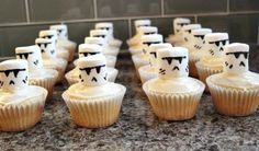 Save money on a Star Wars cake by putting Stormtrooper marshmallows on top of cupcakes. | 23 Ways To Throw The Best Star Wars Birthday Party Ever