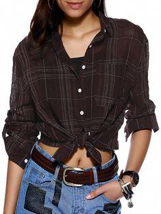 Tomboyish Long Sleeve Gingham Loose Shirt For Women