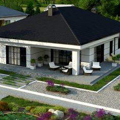 Z443 to wyjątkowy dom z kategorii projekty domów do 130 m2 Modern Bungalow Exterior, Modern Bungalow House, Bungalow House Plans, Dream House Exterior, House Roof Design, House Outside Design, Facade House, Model House Plan, My House Plans