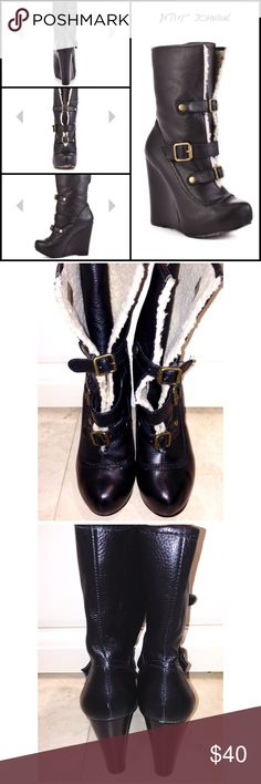 """▪️Betsey Johnson Boots▪️ ✔️10% OFF Bundles Plus FREE SHIPPING!✔️ Betsey Johnson """"Ryderrr"""" Leather Boots in size 7.5 come in VERY GOOD condition! Fits about a size small. These black boots have a soft faux sheepskin lining and the edgy buckle accents. You can wear as shown or folded down for a different look! 1"""" platform and a 4.5"""" wedge heel. My prices fluctuate often for sales & specials, so catch your favorite items when prices are low. Thank you shopping my closet. Mahalo!🤙🏼♥️ Betsey…"""