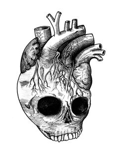 """Listen"" Detailed Anatomical Heart Skull Black and White by iiixtheory, $20.00"