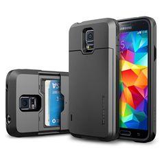 Galaxy S5 Case, Spigen® [Card Holder] Samsung Galaxy S5 Case [Armor] [Slim Armor Card Slider CS Gunmetal] Slim Fit Dual Layer Protective with Slide Card Holder Back Plate Wallet Case for Galaxy S5 / Galaxy SV (2014) - CS Gunmetal (SGP10983) Spigen http://www.amazon.com/dp/B00JW679QQ/ref=cm_sw_r_pi_dp_YZEjub1968SJD