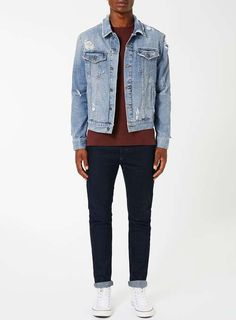 Blue Distressed Denim Jacket - Men's Coats & Jackets - Clothing - TOPMAN
