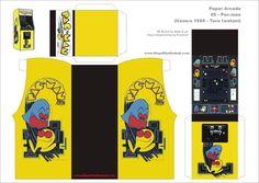 Sara uploaded this image to 'Gaming Printables'. See the album on Photobucket. Mini Arcade, Retro Arcade, Pac Man Party, Party Fun, Instruções Origami, Video Game Party, Paper Engineering, Pokemon Birthday, Arcade Machine
