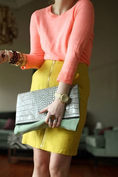 love the color combo! melon pink + golden yellow + faded mint clutch