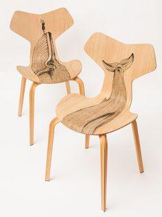 la chaise Grand Prix tatouéé | illustration : Pietro Sedda / design : Diego Grandi / chaise : Arne Jacobsen