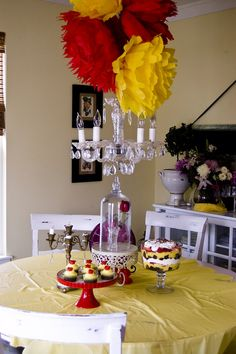 The Style Sisters: Beauty and the Beast Centerpiece Wednesday | for big impact, hang large tissue pompoms everywhere!