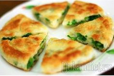 Chinese Green Onion Pancake - looks a bit like the Taiwanese version Baking Recipes, Diet Recipes, Vegan Recipes, Vegetarian Recepies, Crepes And Waffles, Tasty, Yummy Food, Russian Recipes, International Recipes