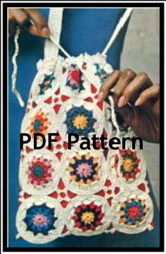 A super easy quick pattern. Hippie Bag Purse Satchel done in Granny Squares by BubbleGumInTheMail, $2.50