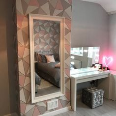 Modern grey, blush and rose gold teen room makeover for Make A Wish UK Cute Bedroom Ideas, Cute Room Decor, Girl Bedroom Designs, Aesthetic Room Decor, Dream Rooms, House Rooms, Room Inspiration, Bedroom Decor, Bedroom Inspo