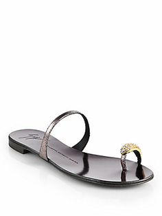 All about the #toes - Giuseppe Zanotti Crystal Toe Ring Metallic Leather Sandals #giuseppezanotti