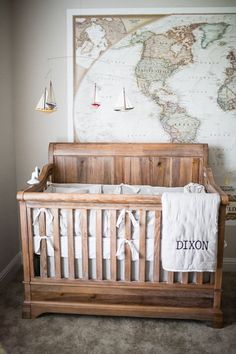 This top Pinned gender-neutral nursery is adventure themed. Baby Nursery: Easy and Cozy Baby Room Ideas for Girl and Boys Baby Bedroom, Baby Boy Rooms, Baby Room Decor, Baby Boy Nurseries, Baby Cribs, Nursery Room, Kid Rooms, Map Nursery, Baby Nursery Themes