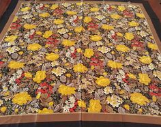 SILK CHARMEUSE SCARF / Ellen Tracey / 36x35 Square Extra Large / Floral / Black Border / Vintage / Outstanding by BeautyFromThePast on Etsy