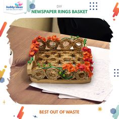 The pretty punch flowers around the basket, the bright colors and the unique composition makes this a perfect fit for a decorative piece in your living room. Get ready to make this beautiful basket by using some old newspapers.