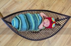 PDF Instant Download Crochet Pattern No 219 Caterpillar Cocoon and Beanie Chunky yarn photo prop sizes preemie, newborn. 0-3, 3-6 months on Etsy, $4.99