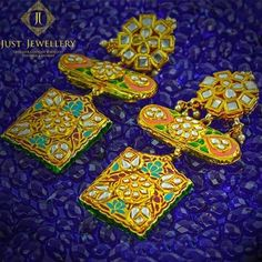 Indian Wedding Jewelry - Meenakari and Gold Square Drop Earrings | WedMeGood #indianjewelry #indianbride #indianwedding #jewelry #meenakari #earrings