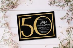 Shhh It's a Surprise 50th Birthday Invitation/Any Age Printable Gold & Black Birthday Invitation Card/e-card/20th/30th/40th/60th/70th/80/90 by BlessedDayPaper on Etsy