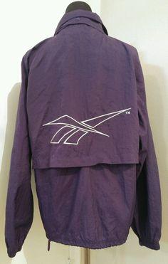 90's Retro Solid Purple and White Reebok Zip Nylon Athletic Windbreaker Jacket M #Reebok #Windbreaker