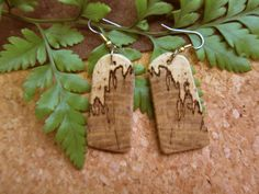 Spalted Hackberry, Exotic Wood Earrings, handcrafted by ExoticwoodJewelryAnd Hypo allergenic Ear wires - Sterling silver bail. Wood is all natural colors, no dyes or stains, etc. Handmade in our woodshop. Size of Wood - 1 3/4 inches - 7/8 inches wide. Hangs 2 1/2 inches from top