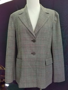 MICHAEL KORS Tartan Plaid Black Two Button Blazer Jacket Womens Size 14 Large  #MichaelKors #Blazer