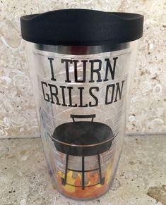Tervis I Turn Grills On Tumbler 16 oz Black Tervis Lid Grill Tervis Tumbler NEW  | eBay