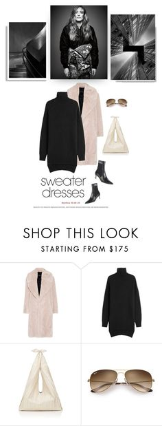 """""""ain't no sunshine"""" by iriadna ❤ liked on Polyvore featuring Cédric Charlier, Isabel Marant, The Row, Fendi, Ray-Ban, ankleboots, minimalistic, sweaterdresses and fauxfurcoats"""