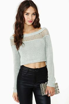 Nasty Gal Flicker Crop Sweater in Clothes at Nasty Gal Crop Top Sweater, Sweater Shop, Gray Sweater, Latest Outfits, Fashion Outfits, Womens Fashion, Bauchfreier Pullover, Girls Sweaters, Sweaters For Women