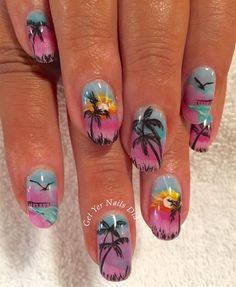 Day Abstract Beach Nail Art - The most beautiful nail list Beach Nail Art, Beach Nail Designs, Beach Nails, Short Nail Designs, Cute Nail Designs, Perfect Nails, Gorgeous Nails, Beach Themed Nails, Tropical Nail Art