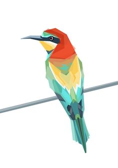 European Bee Eater Geometric art print by TinyKiwi