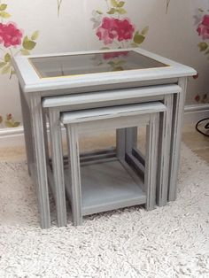 Shabby chic grey nest of 3 tables, French country farmhouse, hand-painted Annie Sloan 'Paris grey' side/lamp/console/coffee on Etsy, £50.00