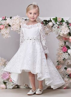 JJsHouse A-Line/Princess Asymmetrical Flower Girl Dress - Lace Long Sleeves Jewel With Flower(s) Cute Flower Girl Dresses, Wedding Dresses For Girls, Wedding Party Dresses, Bridesmaid Dresses, Tulle Lace, Lace Dress, Champagne Flower Girl, Girls Dresses Online, First Communion Dresses