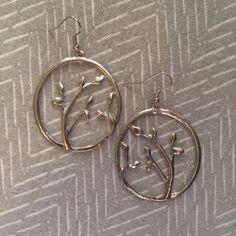 Tree branch dangles Round silver tree branch dangles. Never worn. Jewelry Earrings
