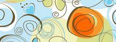 Orange Blue Green Swirls Hearts Facebook Cover