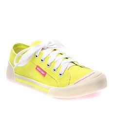 Look what I found on #zulily! Yellow Neon Canvas Jazzin Sneaker #zulilyfinds I LOVE ROCKET DOGS.