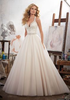 Wedding Dress - Mori Lee Bridal SPRING 2017 Collection: 8119 - Margarita - Embroidered Appliqués Trimmed with Crystal Beading on Tulle Ball Gown Spring 2017 Wedding Dresses, Wedding Dresses Photos, Wedding Dresses For Sale, Bridal Wedding Dresses, Wedding Dress Styles, 2017 Bridal, Lace Wedding, Trendy Wedding, Elegant Wedding