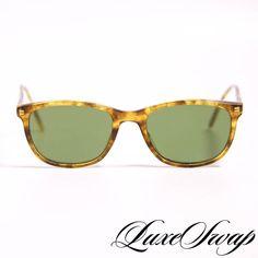 d74c72ccbeb RARE Vintage Eyevan Made in Japan Honey Tortoise E32 Green Lens Sunglasses  NR