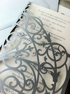 Wedding Invitations - lasercut iron gates - Romantic garden themed wedding invitation