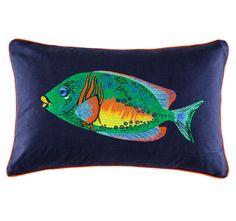 Kas Fluro Fishy 35x55cm Filled Cushion Multi