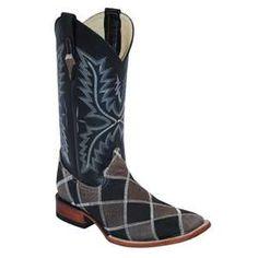 Ferrini® Men's Cowhide Patchwork Square Toe Boot - Black/Grey