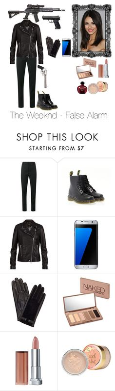 """""""The weeknd -  False Alarm"""" by martine09 ❤ liked on Polyvore featuring Yves Saint Laurent, Dr. Martens, SET, RIFLE, Samsung, John Lewis, Urban Decay, Maybelline and Christian Dior"""