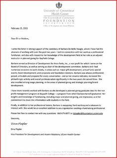 Letter of Reference from Dina Plapler, VP Development & Alumni, UCONN Health Center